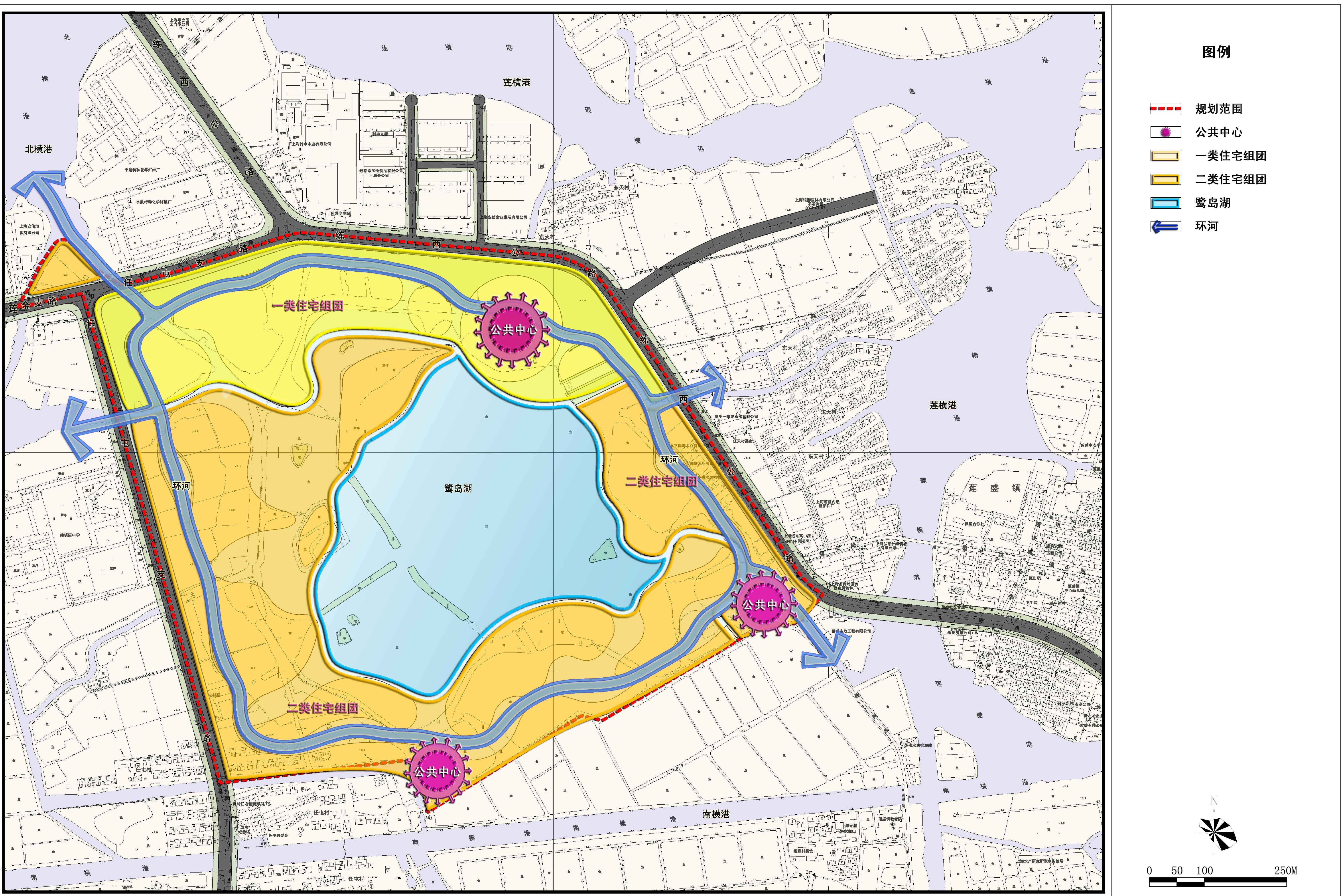 """规划背景: 2009年,青浦区金泽镇作为上海市10个小城镇发展改革试点之一,与现代化国际大都市发展要求相适应的郊区示范城镇。 规划充分利用金泽镇现有良好生态环境景观资源和公共服务设施基础,把握小城镇发展改革和试点机遇,致力于提升地区居住和环境品质,打造服务于金泽镇乃至青西地区的高品质滨水生态居住区。 规划特色: 突出地域自然生态环境的布局结构 为落实和实现规划目标和理念,结合周边建设现状、基地现状和规划情况,形成""""一河一湖、河湖相连,三心多岛、生态岛居""""的布局结构。 塑造江南水乡风"""