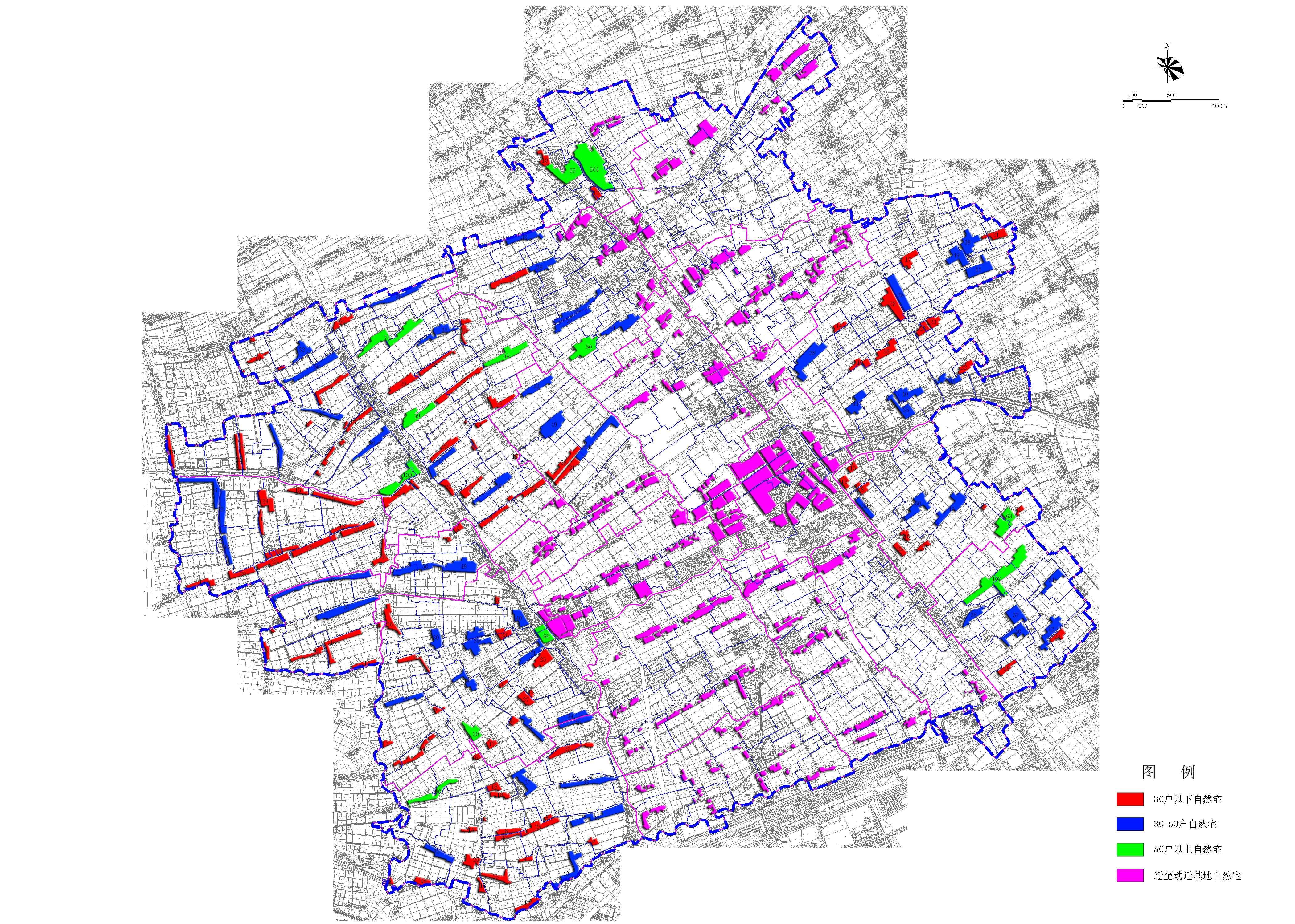 外冈现状村宅规模分析图
