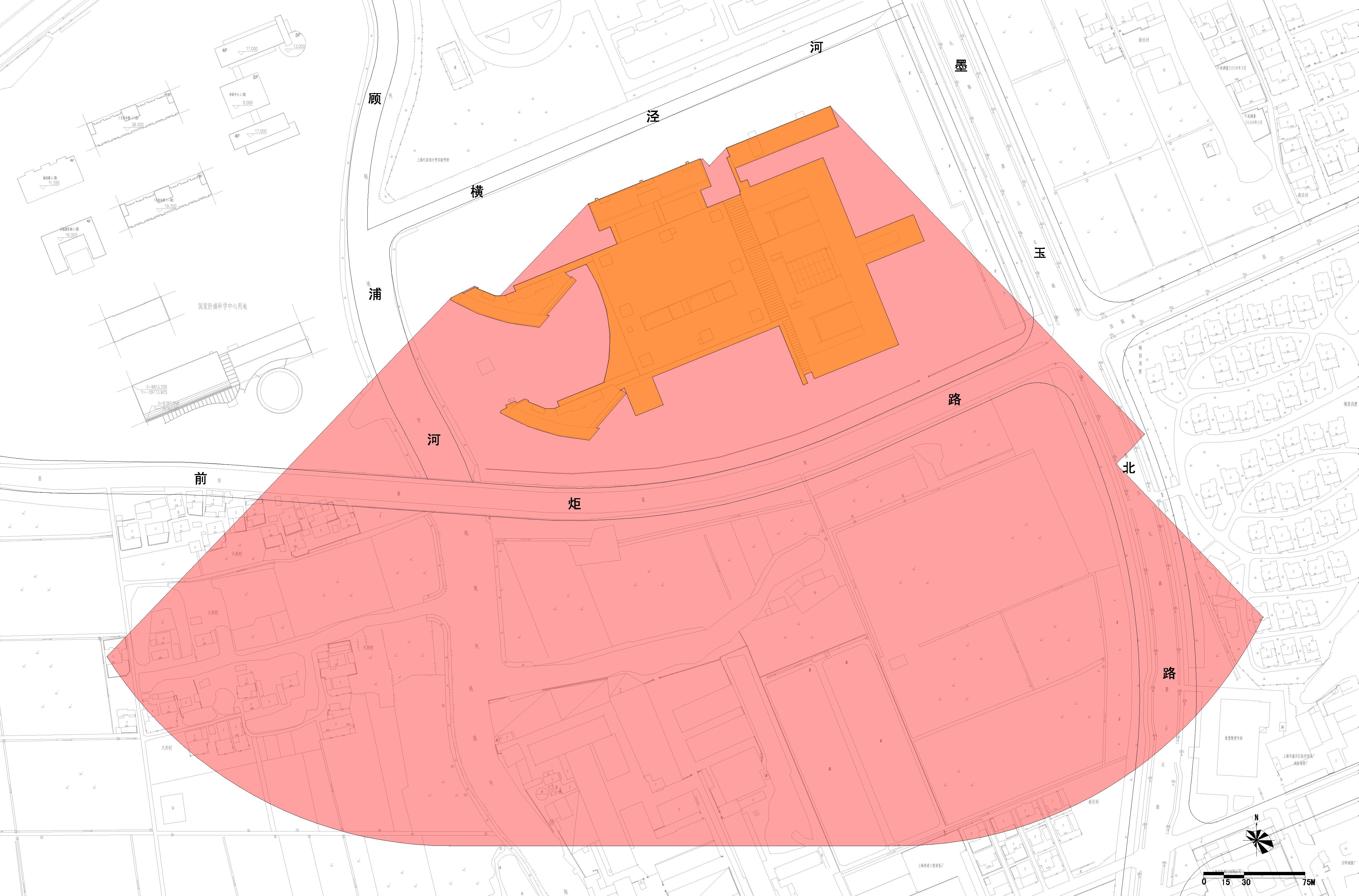 第二军医大学第三附属医院安亭院区工程日照分析主体建筑范围图