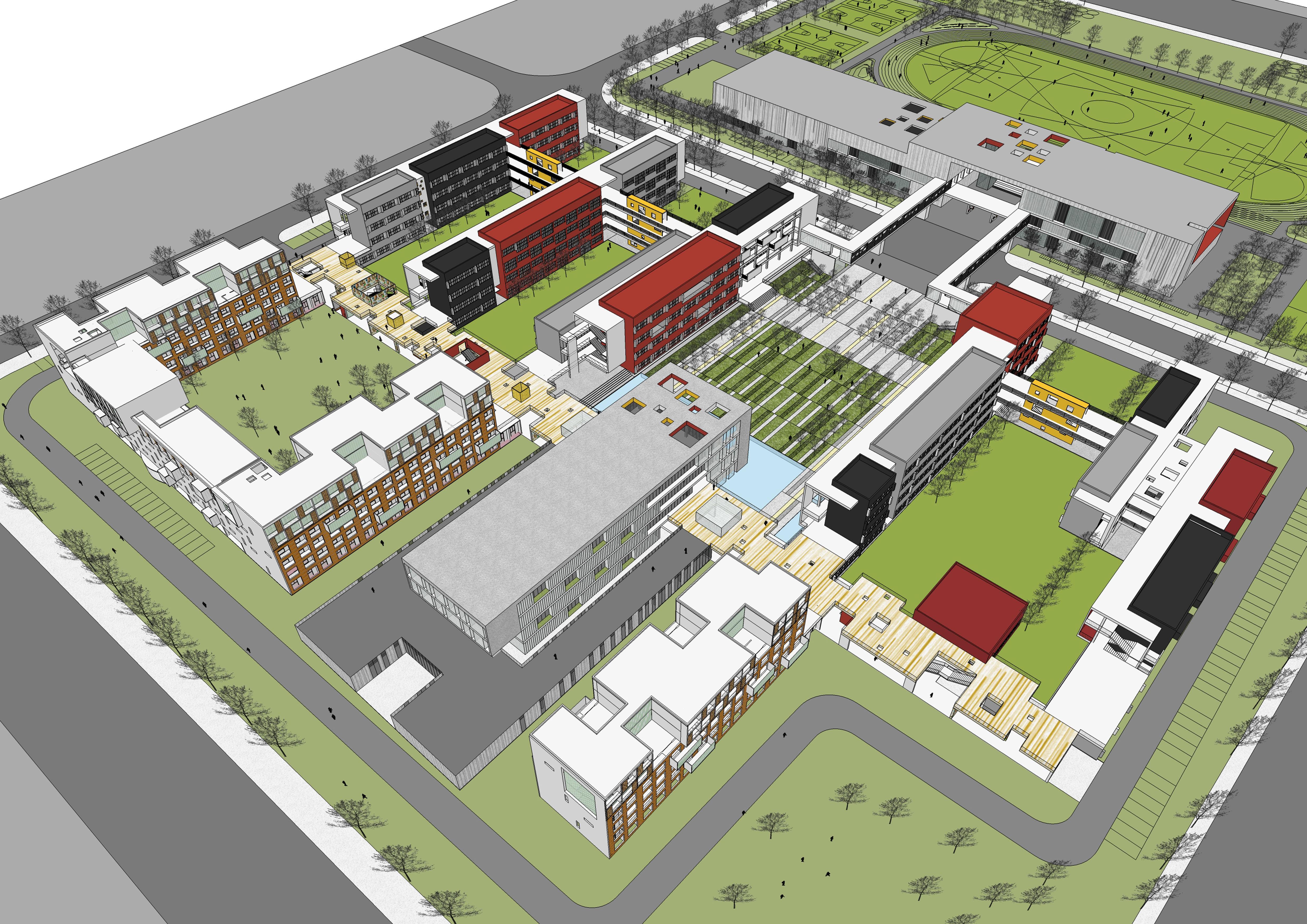 嘉定新城中心区示范性高级中学鸟瞰图
