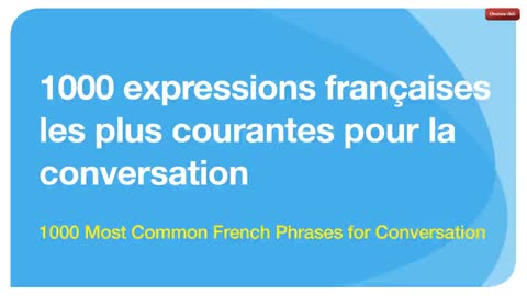 1000 Most Common French Phrases in Conversation (with English voice)