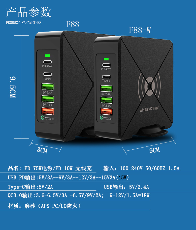 Picture of PD-75W High power power adapter for Apple 61W/ 87W/ QC3.0 fast charge charger