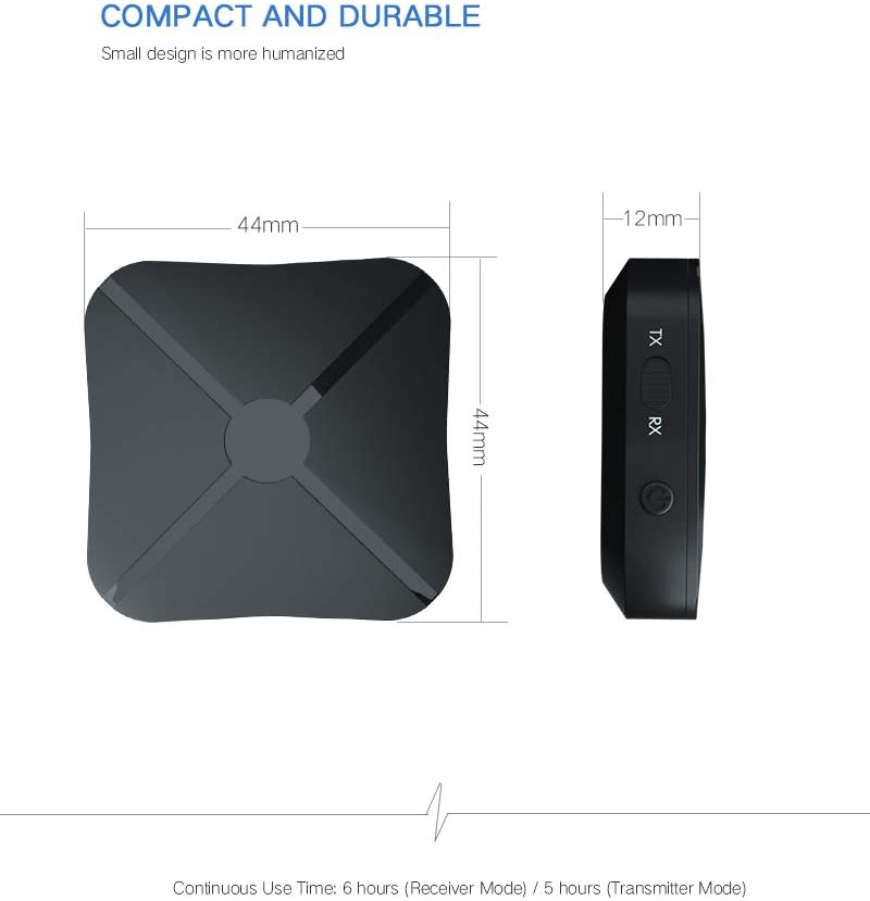 Picture of CARYWON Receptor Bluetooth, 2 en 1 Transmisor y Receptor Bluetooth Adaptador Advanced Bluetooth 4.1 3.5mm de Salida Estérea para Auriculares, Altavoz, TV, PC, Radios de Coches, MP3/4 etc