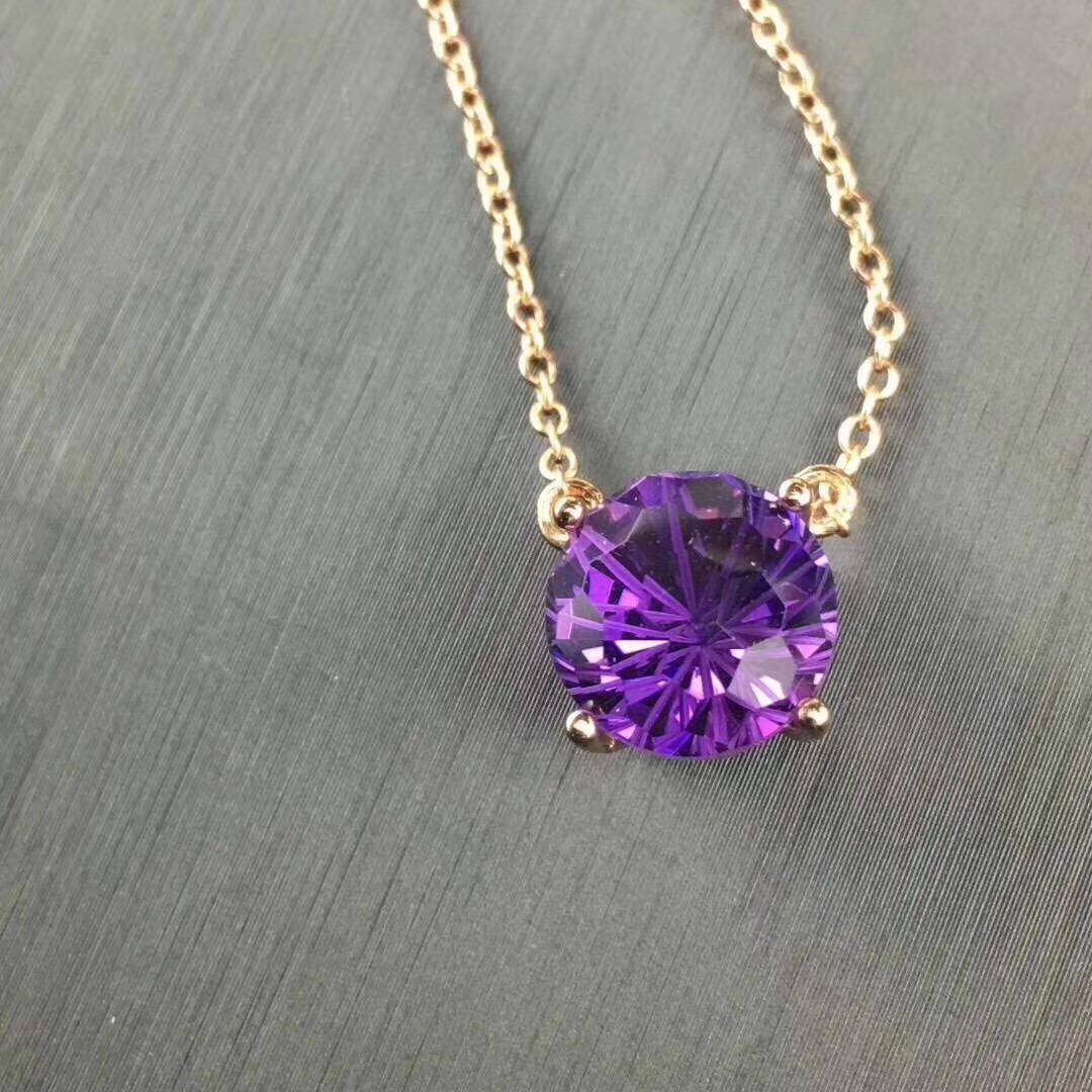 S925银镶紫水晶颈链