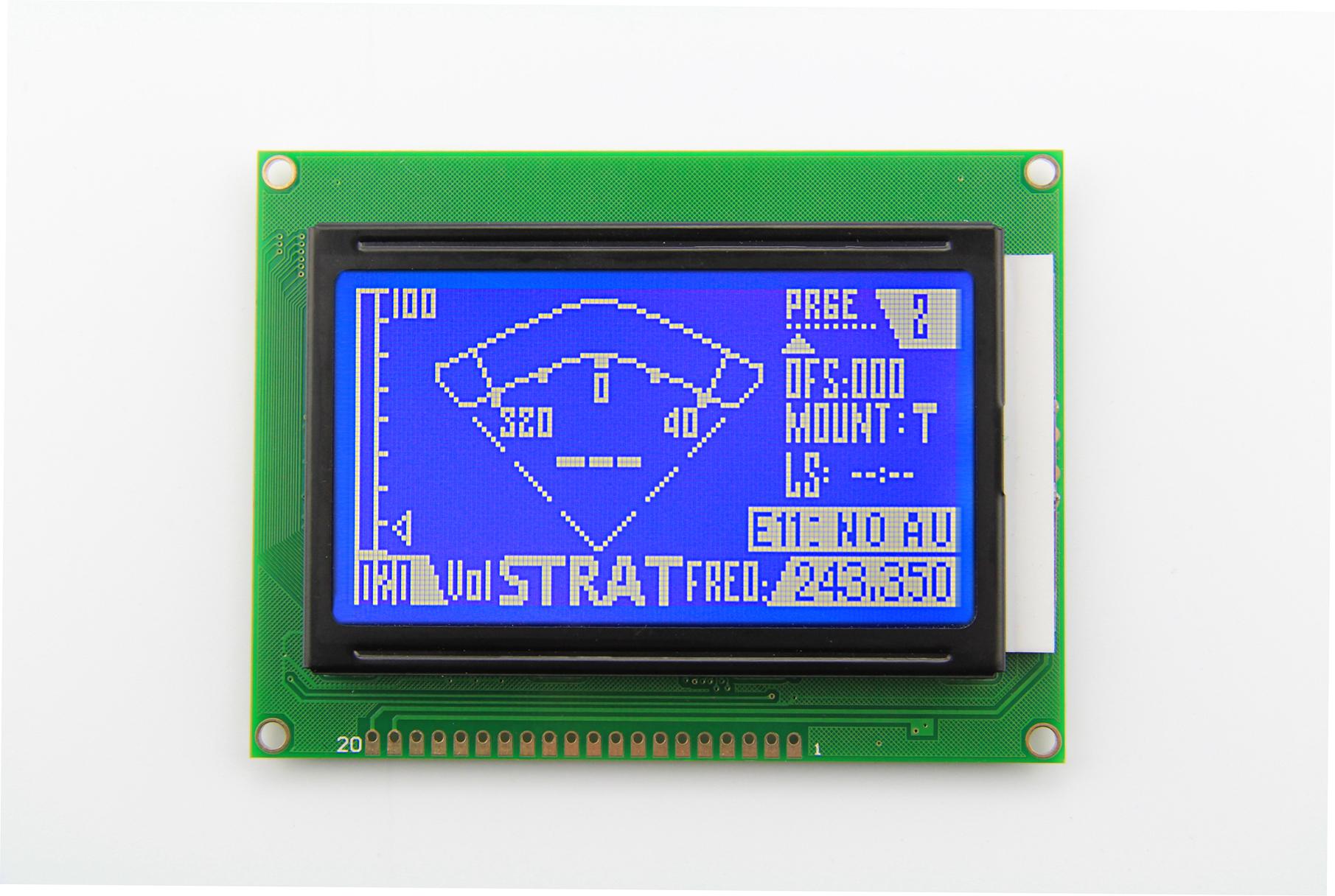 HTM12864Z(蓝膜/负显)--带中文字库的COB型128X64图形点阵模组