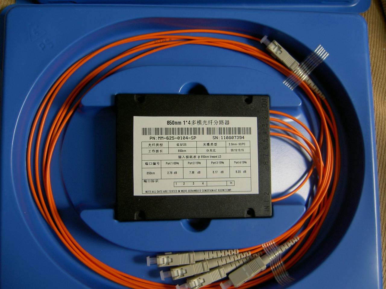 850nm1x4 多模光纤分路器SC/PC