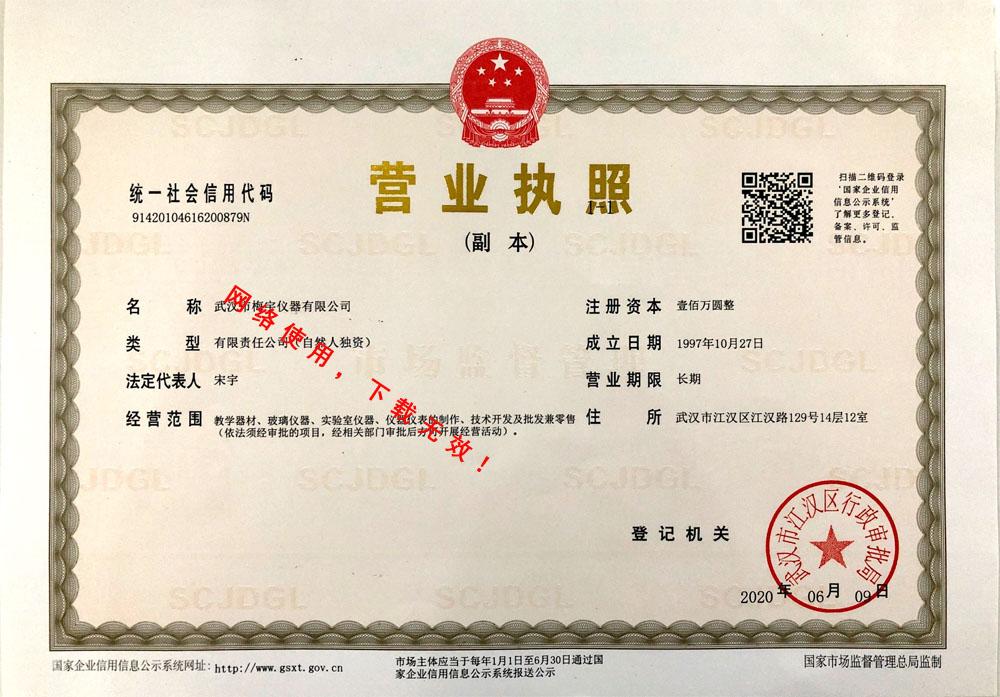 武汉梅宇仪器-营业执照