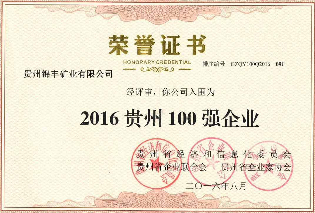 2016贵州百强企业