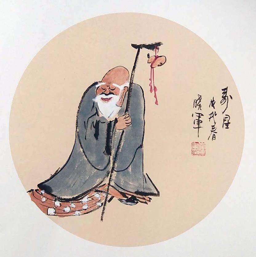 崔晓军扇面作品《寿星》