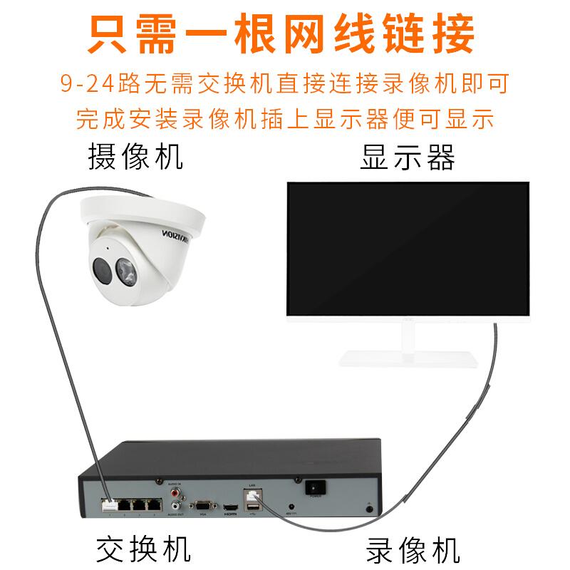 立伟世纪  海康威视摄像头半球带音频监控设备套装 POE供电室内监控器 24路+ 可付费上门安装 带6T硬盘
