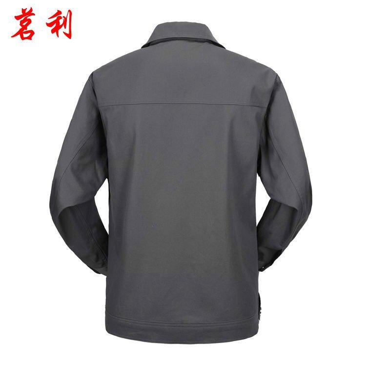 天津工作服厂家直销劳保工作服长袖外套新款式翻领咖啡色涤棉工装