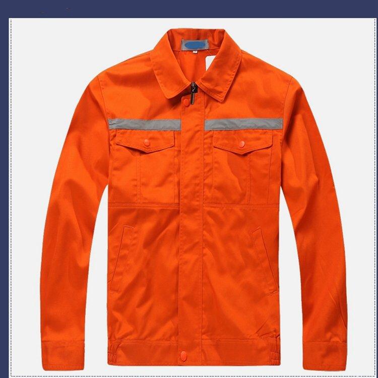涤棉翻领劳保工作服长袖套装环卫工人工作服橘黄色工厂服装
