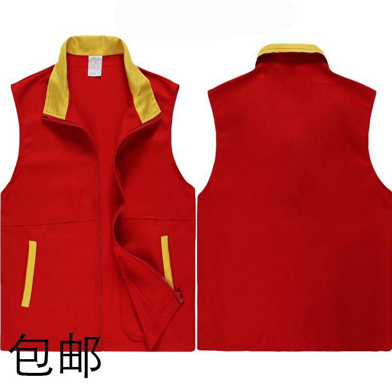 厂家直销红色拉链透气广告马甲 促销员工作服马甲