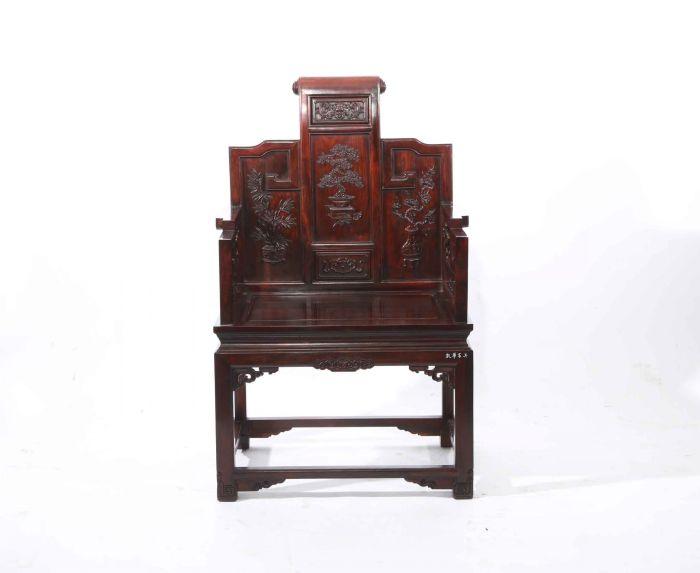 红酸枝书卷宝座椅