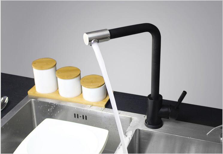 烤漆喷色黑白厨房龙头CFLT018
