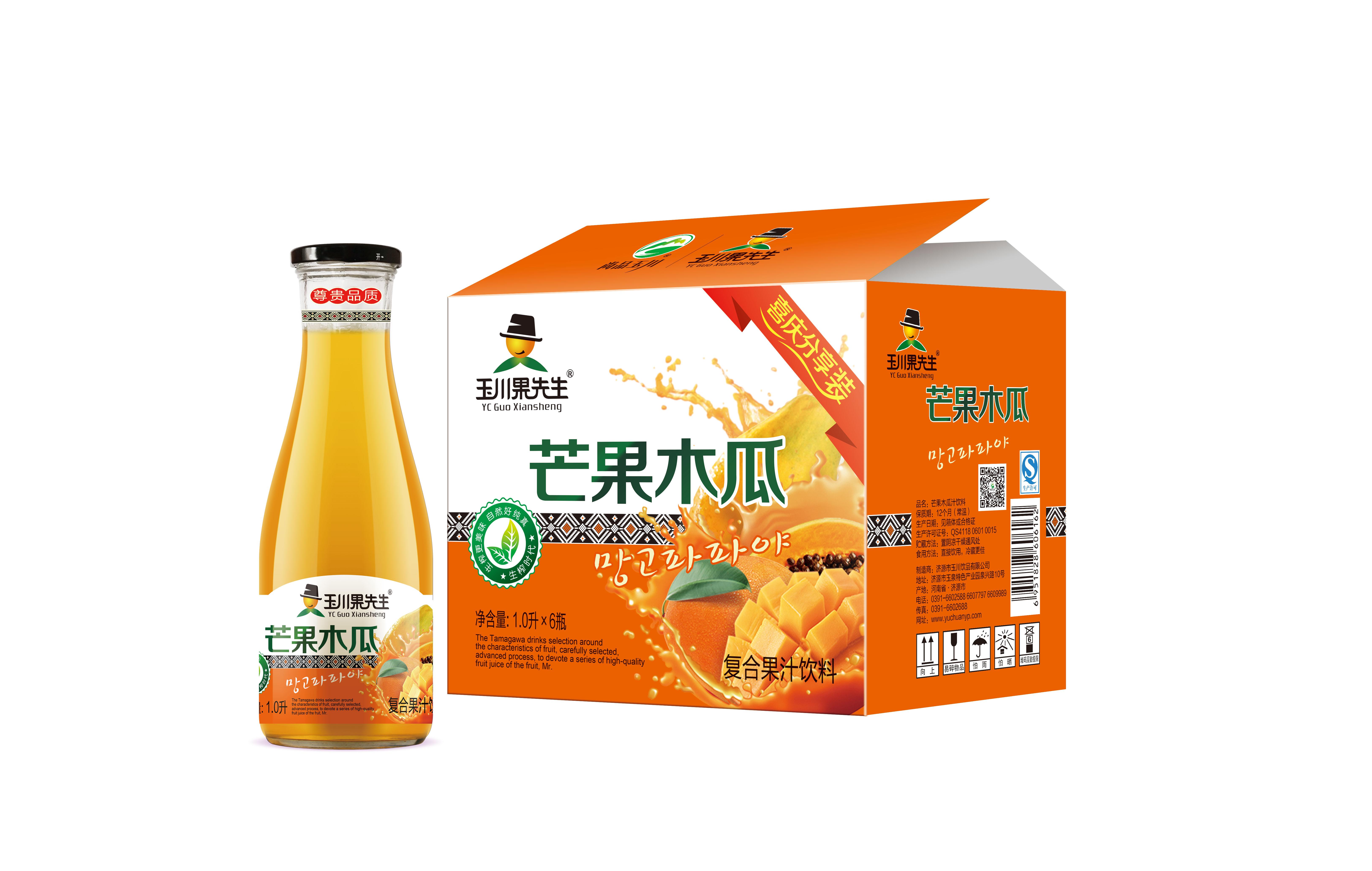 1L×6 玉川果先生63#芒果木瓜果汁饮料