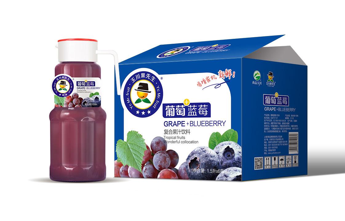 1.5L×6果先生塑料盖蓝莓葡萄汁饮料