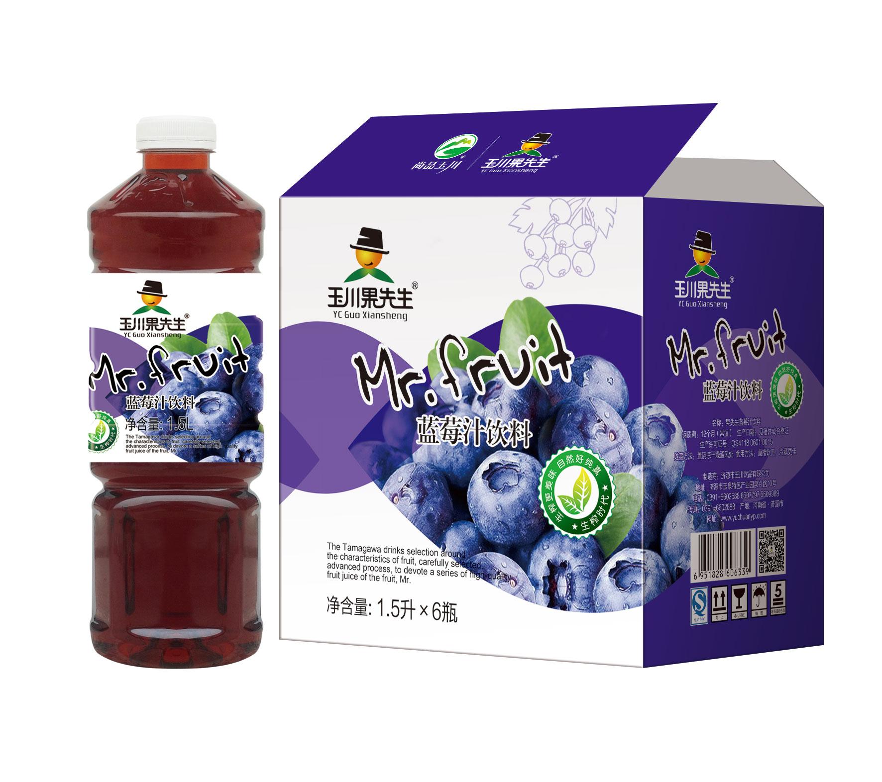 1.5L×6果先生蓝莓汁饮料
