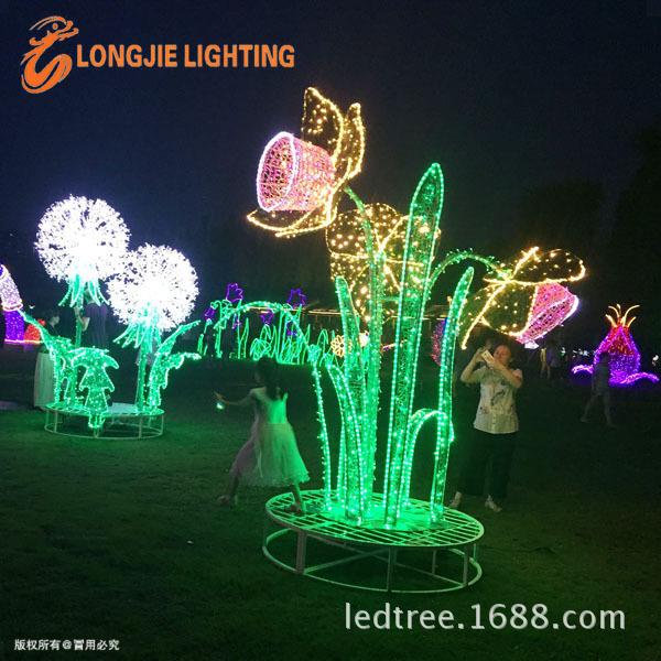 3D向日葵造型灯、铝架造型灯  灯光节 灯光秀新款造型灯