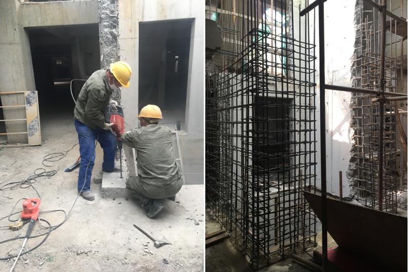电梯井剪力墙植筋(施工采用喜利得TE70电锤)
