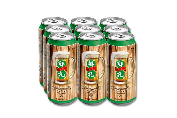 鲜扎啤酒塑包500ml×9