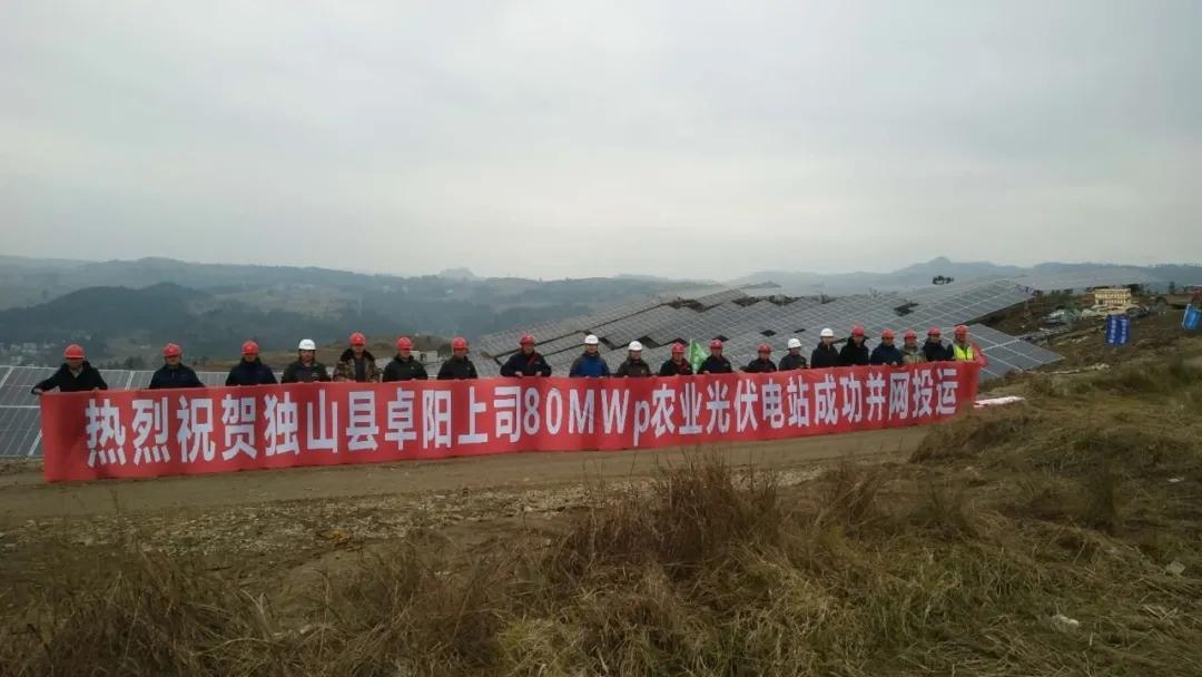 独山县头头体育亚洲上司80MWp农业光伏电站成功并网投运