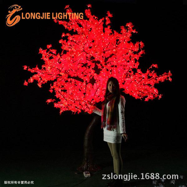 2544灯高3米 高仿红色真枫叶树灯LJ-SM2544R-3