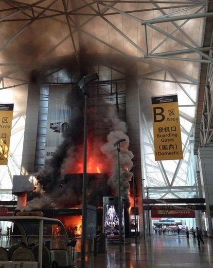 广州白云机场突发火灾 部分航班受影响