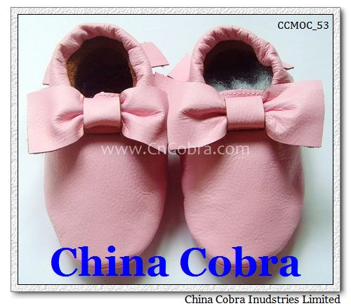 baby single layer bow moccasins
