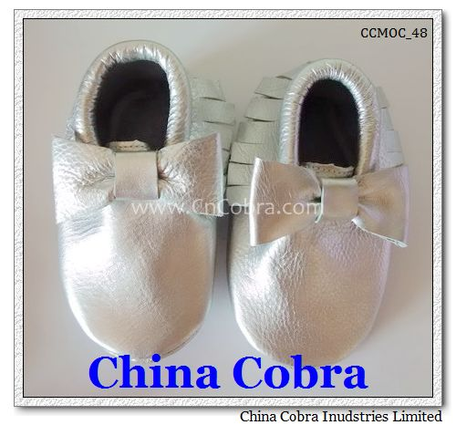 shiny silver bow moccasins