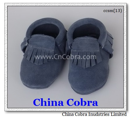 blue suede baby moccasins