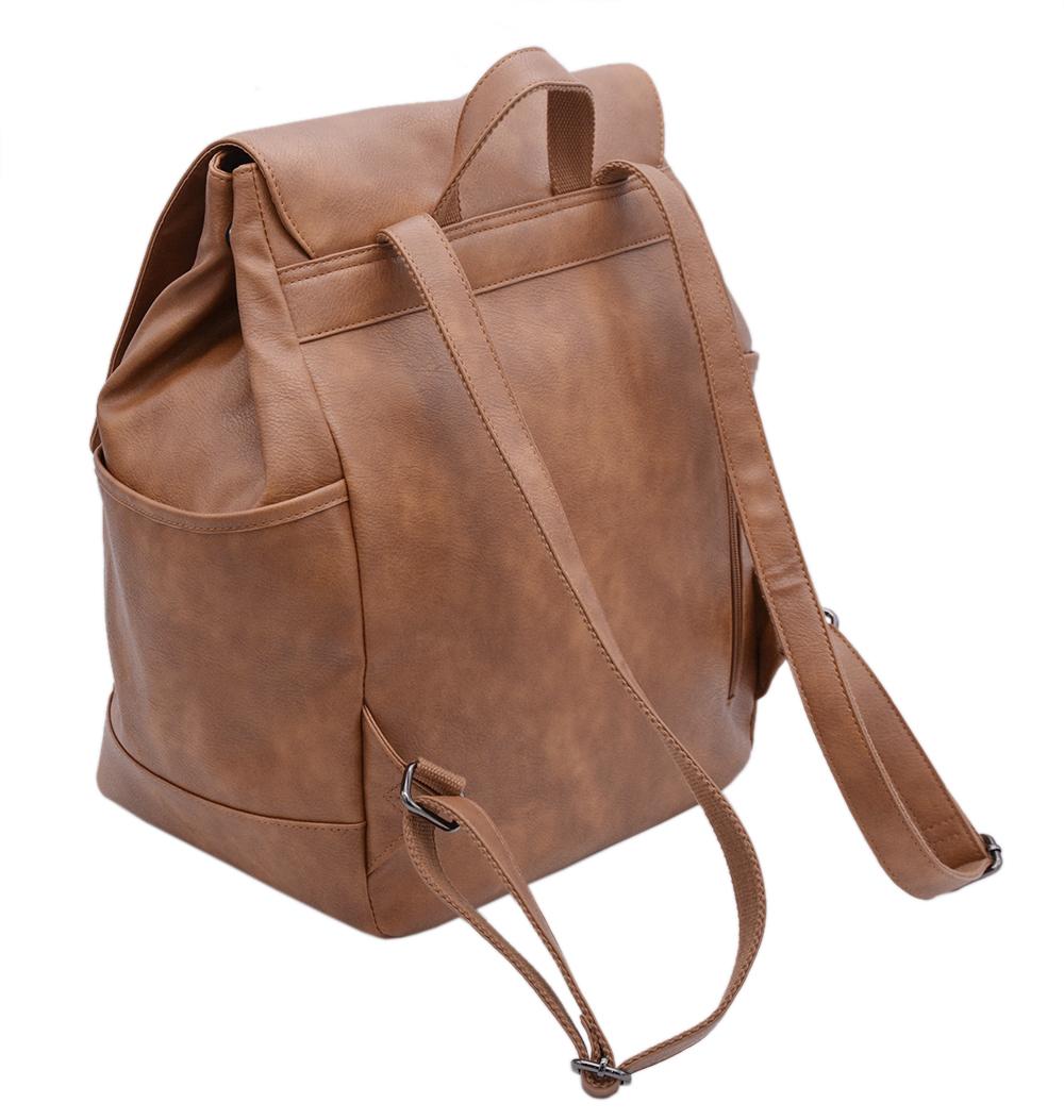 Picture of Factory Wholesale Vegan Leather Teenager Book Bag PU Brown Laptop School Backpack Bag